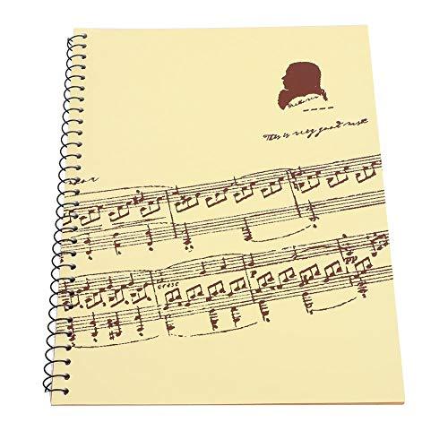 Bnineteenteam 50 Seiten leeres Notenheft Notenmanuskript-Briefpapier für Notenmanuskript-Papier, Stabspapier(Gelbe Musikpartitur)