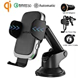 Chargeur Induction Voiture, Wefunix Qi Chargeur Sans Fil Rapide Voiture Automatic Clamping Quick Charge QC 3.0, 7.5W pour iPhone...