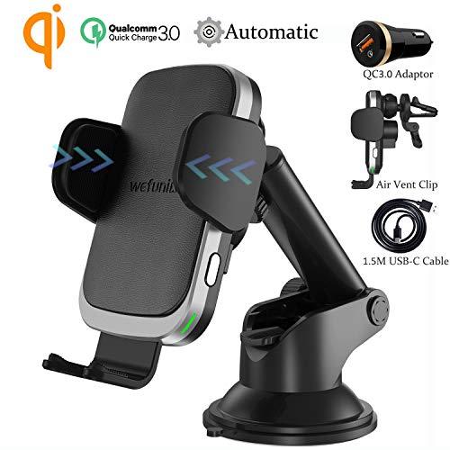 Wefunix Cargador Inalámbrico Coche Carga Rápida Sensor Automatico USB...