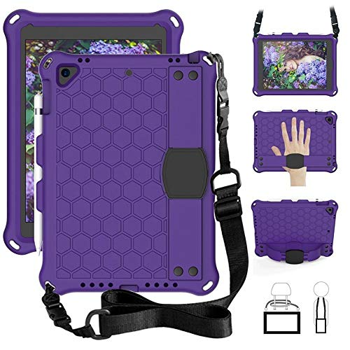 RZL PAD & TAB cases For Ipad Pro 11, Kids Case With Stand Function And Strap Tablets Cover For Ipad 7th Generation Ipad Air 2 3 Ipad MINI 12345 (Color : Purple, Size : Ipad pro 11 2018)