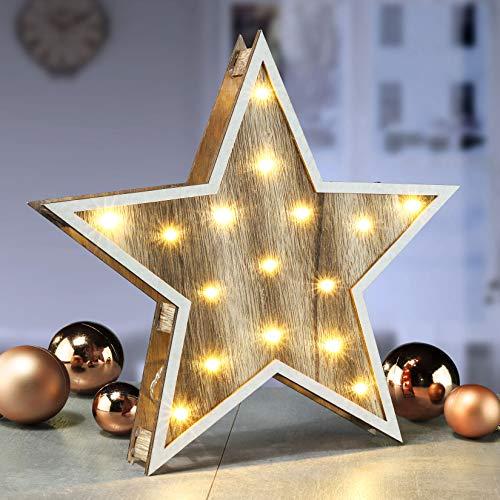 Deko Holz Stern 30 cm - 16 LED - Weihnachtsstern beleuchtet Tischdeko Fensterdeko