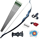 D&Q Bow and Arrow Set for Beginner Teens Archery Recurve Bow Kit 30 40Lbs Takedown Bow for Left and Right Hand Bow Hunting Training Target Practice(40Lbs)