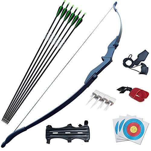 D&Q Bow and Arrow Set for Beginner Teens Archery Recurve Bow Kit 30 40Lbs Takedown Bow for Left and Right Hand Bow Hunting Training Target Practice(30Lbs)