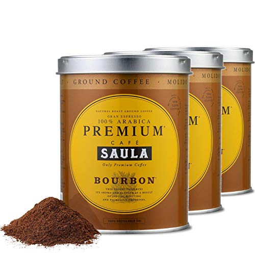 Saula Premium Gemahlener Kaffee Pack 3 Dosen mit 250 gr. Bourbon 100% Arabica