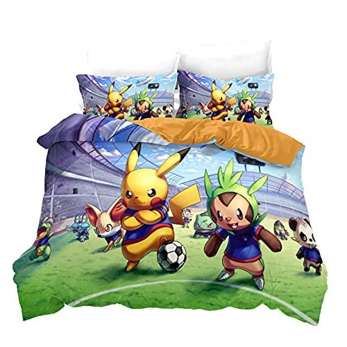 Funda Nordico Pokémon Pikachu Juego De Cama 135X200 Cm 100% Poliéster con Cremallera con 2 Fundas De Almohada 50X70 Cm para Camas Individuales Y Camas para Niños