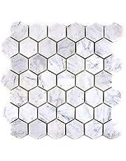 Mozaïektegel marmer natuursteen hexagon marmer wit carrara voor vloer muur badkamer toilet douche keuken tegelspiegel THEKENVERKOELING badkuipbekleding mozaïekmat mozaïekplaat