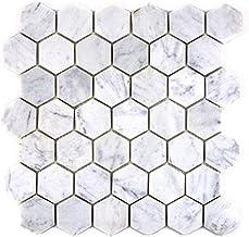 Mozaïektegel marmer natuursteen hexagon marmer wit carrara voor vloer muur badkamer toilet douche keuken tegelspiegel THEK...