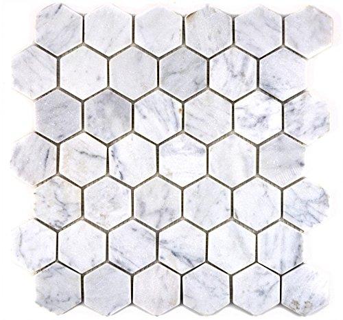 Mosaik Fliese Marmor Naturstein Hexagon Marmor weiß Carrara für BODEN WAND BAD WC DUSCHE KÜCHE FLIESENSPIEGEL THEKENVERKLEIDUNG BADEWANNENVERKLEIDUNG Mosaikmatte Mosaikplatte