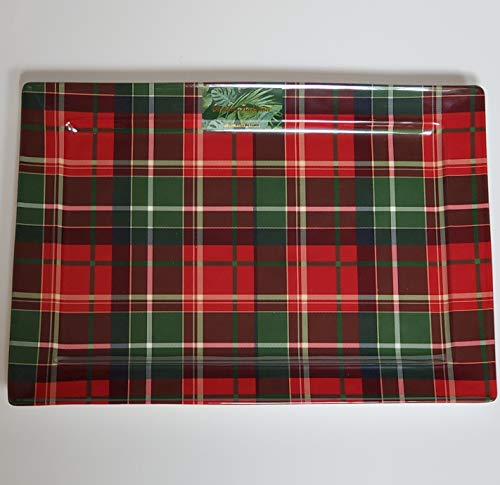 """Tommy Bahama Christmas Platter, Tray Tartan Plaid Red, Green - 100% Melamine Dishwasher Safe 11+"""" x 16"""", Plate Great for Parties, Entertainment"""