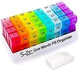 Monthly Pill Organizer | Free Pill Cutter | Pill Box | Pill Case | Pill Dispenser | Update 2020 Model | 31 Days AM/PM | Easy Snap-On/Close Lid | BPA Free | Supplement | Medication | Premium Quality