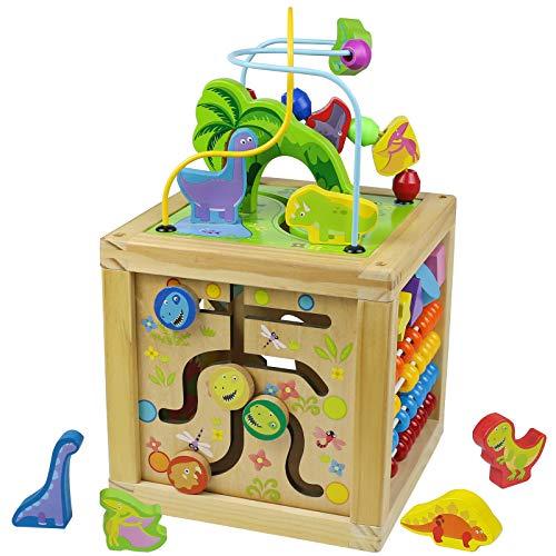 Juguetes Cubo Actividades Bebe Dinosaurios de Madera-Juguetes Montessori con Abaco Infantil Laberinto de Cuentas 5 en 1 Multifuncional Juegos Educativos Cubos Madera Regalo para Niñas Niños 3 Años