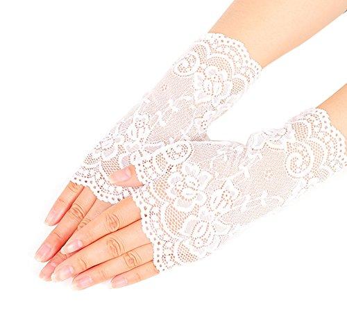 Nanxson Damen Fingerlose Spitzen Handschuhe Braut Spitzen Handschuhe für Hochzeitsfeier Halloween ST0084 (Weiß, eine Size