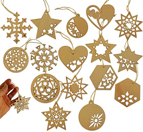 DIY Unfinished Wood Christmas Ornaments to Paint, Color, or Decorate ~ Blank Wood Laser Cut Bundle of 16 3 Inch Snowflakes, Hearts, Stars, More! ~ Great for Group Craft, Classrooms, Family Activity