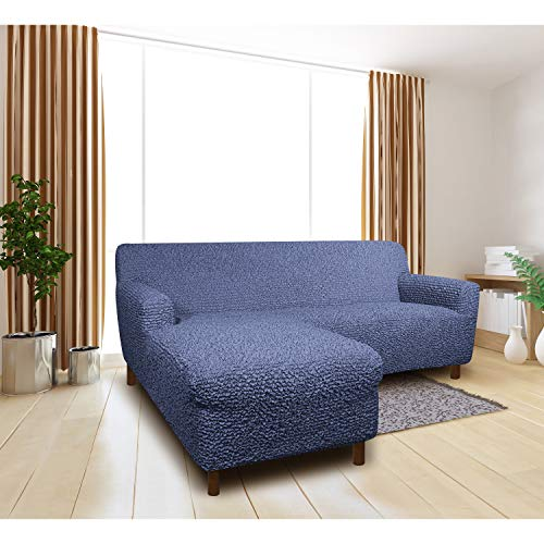 Sectional Couch Cover - L-Shape Sofa Cover - Soft Polyester Fabric Seat Slipcovers - 1-Piece Form Fit Stretch Furniture Slipcover - Microfibra Collection - Blue (Left Chase)