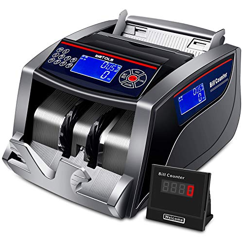 Money Counter, 3 Displays UV/IR/DD/MG/MT Detection with 5 Modes Add/Batch/Auto/Count/Restart, Bill Counting Machine with Counterfeit Bill Detection, 1,000 Notes per Minute - (NOT Count Value of Bills)