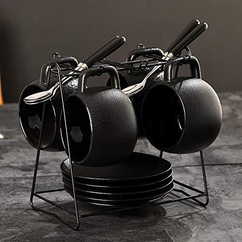 Schwarz Vintages Latte Espresso-Kaffee, Frühstück, Tee-Becher Coarse Keramik Kaffee Set Tasse mit Untertasse Löffel Trinkgefäße Griff Milk Cup Lovers Cup Einfaches Büro
