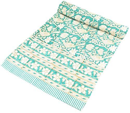 Blockdruck Tagesdecke, Bett & Sofaüberwurf, handgearbeiteter Wandbehang, Wandtuch grün - Design 15 / / Variante: Größe: Double 225 * 275 cm