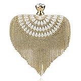 Mdsfe GLOIG Borla Diamantes de imitación Embrague Rebordear Dama Bolsos de Noche Diamantes Cadena pequeña Monedero Bolsos de Hombro Banquete de Boda Bolso de noche-YM1037 Oro