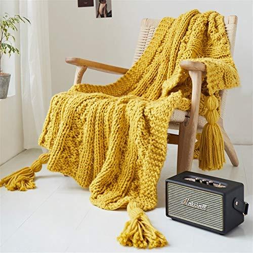 BZRXQR Versátil Manta Hecha a Mano de Punto borlas Manta de Tiro Manta de Viaje 130x160cm Inicio Sofá Sofá Cama Sofá Silla sofá (Color : Yellow, Size : 130x160cm)