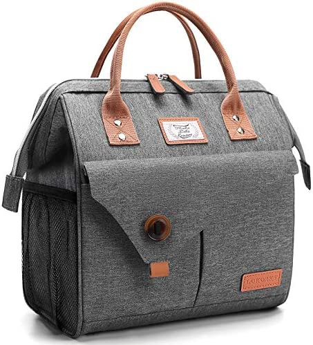Lekesky Lunch Bag Women Insulated Lunch Box for Adults Work Reusable Cooler Bag Grey product image