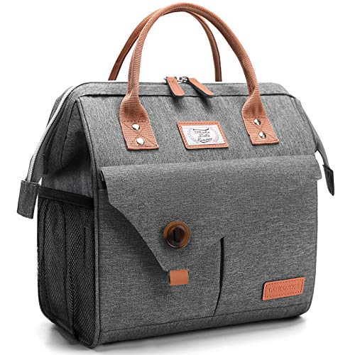 Lekesky Lunch Bag Women Insulated Lunch Box for Adults Work, Reusable Cooler Bag, Grey