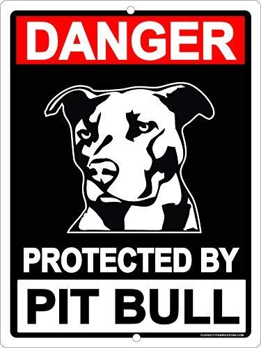 Dark Branches Avertissement protégés Pit Bull Pitbull Chien Attention Panneau Chien 20,3 x 30,5 cm Pouces en métal Aluminium Herty