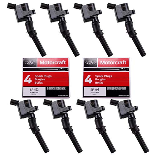 MAS Set of 8 Ignition Coil DG508 and Motorcraft Spark Plug SP493 compatible with Ford Lincoln Mercury 4.6L engines DG457 DG472 DG491 F523 3W7Z12029AA 1L2U12029AA 1L2U12A366A