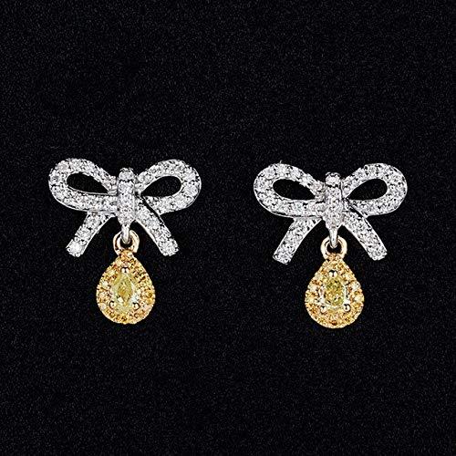 DJMJHG Brillante Elegante Bowknot Inset Luxury Citrine Pink Cz Gemstone Stud Pendientes para Mujer Joyería Regalo de BodaB