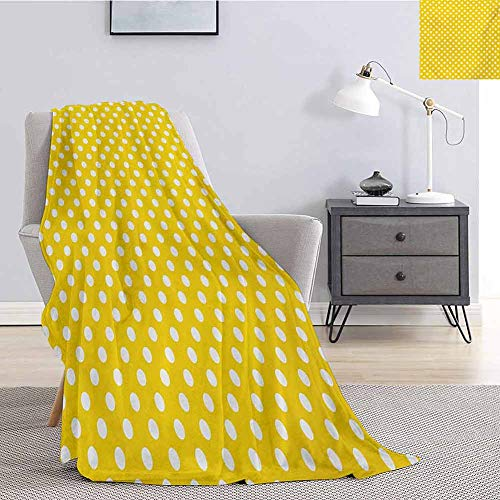 Luoiaax Yellow Commercial Grade Printed Blanket Picnic Inspired Cute 50s 58s 70s Themed Polka Dot Retro Spotted Pattern Print Queen King W91 x L60 Inch Yellow and White