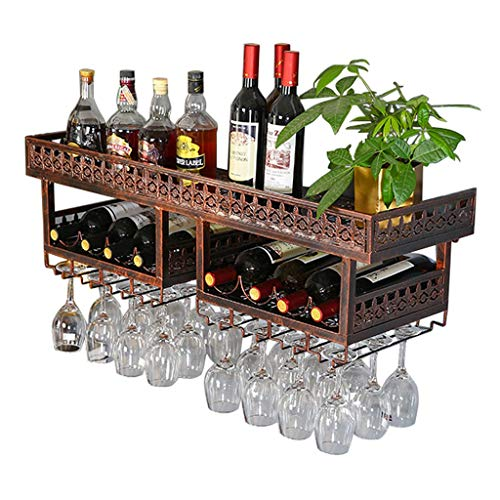 2- Tiers Loft Wall-Mounted Wine Holder, Wine Bottle Rack Stemware Wine Glass Rack, Metal Iron Décor Storage Bar Display Application Rack,Dining Room,Kitchen