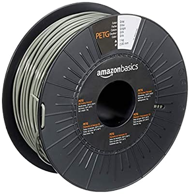 Amazon Basics PETG 3D Printer Filament, 2.85mm, Gray, 1 kg Spool