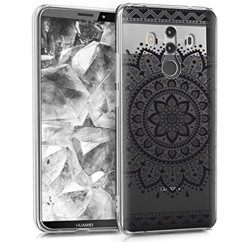 kwmobile Cover Compatibile con Huawei Mate 10 PRO - Custodia in Silicone TPU - Backcover Protettiva Cellulare Girasole Azteco Nero/Trasparente