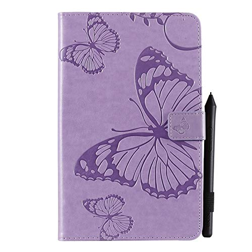 chenyuying Flor de Mariposa patrón Floral PU de Cuero de la Cartera de la Tableta Cubierta de la Caja Compatible con Samsung Galaxy Tab A con S Pen 8.0 2019 SM-P200 / SM-P205 (Color : Púrpura)