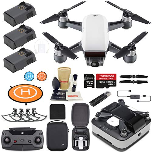 DJI Spark Drone Quadcopter (Alpine White) Elite Bundle with Remote Controller, Portable Charging Station, 3 Batteries, Charging Station Bag and Must Have Accessories