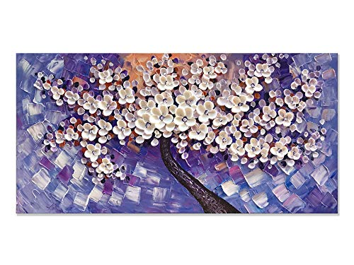 Alenoss 100% Hand Painted 3D Oil Painting on Canvas White Flowers Framed Wall Art 24x48 inch Modern Abstract paintings Purple Artwork for Home Walls Living Room Ready to Hang