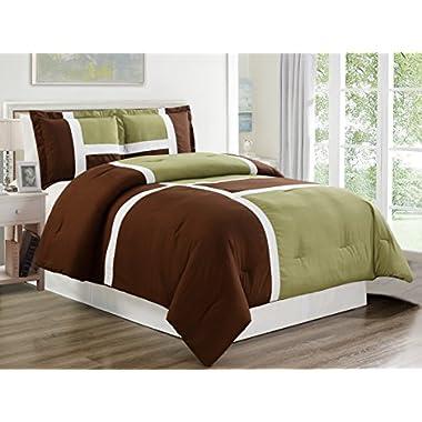 3 piece SAGE GREEN / BROWN / WHITE Goose Down Alternative Color Panel Oversize Comforter Set , KING size Microfiber bedding, Includes 1 Oversize Comforter and 2 Shams