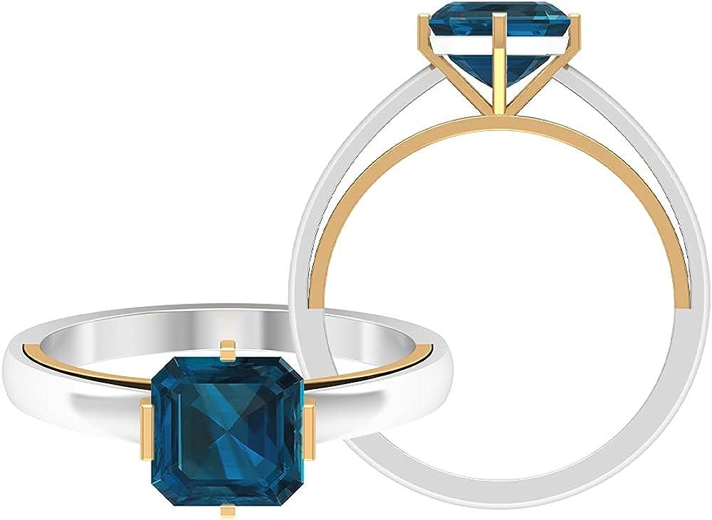 7 MM Asscher Sale Ranking TOP12 Cut London Blue Tone Ring Dece Solitaire Topaz Two