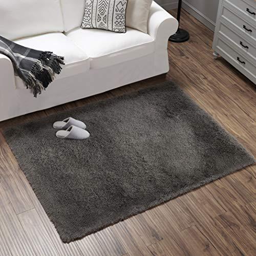 Teppich Wölkchen Hochflor-Plüsch-Teppich I Wohnzimmer Kinderzimmer Schlafzimmer Flur Läufer I rutschfeste Unterseite I Dunkelgrau - 120 x 160