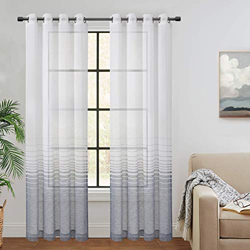 CAROMIO Sheer White Navy Blue Ombre Stripe Farmhouse Curtains Linen Window Curtain Panel Pairs Yarn Dyed Woven 84 Inches Long for Living Room Bedroom, 52 x 84 Inch, 2 Panels, Navy Blue