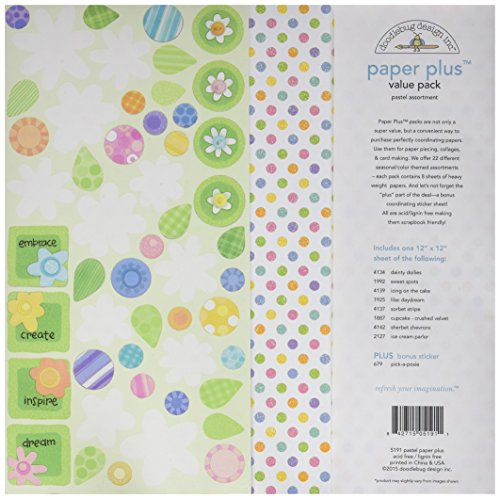 Doodlebug Doodlebug Paper Plus Value Pack 12Zoll x 12Zoll 1-pastel, andere, mehrfarbig