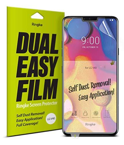 Ringke Dual Easy Full Coverage per LG V40 ThinQ Pellicola Protettiva [2-Pack] [Rivestimento Anti-Sfumature] Alta Risoluzione Proteggi Schermo Semplice e Facile da Usare Custodia Protettiva per LG V40