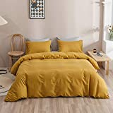 Wellboo Mustard Yellow Duvet Covers Queen Solid Color Bedding Covers Women Girls Dark Yellow Quilt Cover Full Adult Teens Pure Deep Yellow Bed Durable Blankets Ginger Yellow Breathable Soft Queen
