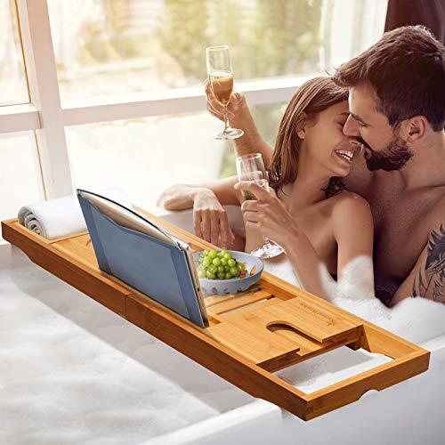 NaturalBambooバスタブトレーバスタブラックお風呂テーブルバステーブルブックスタンド・グラススタンド付きバスラック竹製半身浴浴槽置き台伸縮式(70-105)x22.5x4.5cm