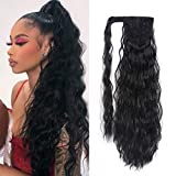 Corn Wave Ponytail Extension Clip in - 22 Inch Long Wavy Curly Wrap Around Pony Tail Heat Resistant Synthetic Hairpiece...