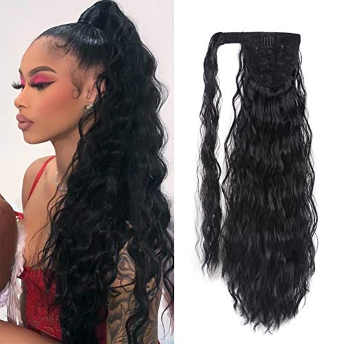 Corn Wave Ponytail Extension Clip in - 22 Inch Long Wavy Curly Wrap Around Pony Tail Heat Resistant Synthetic Hairpiece for Women (Natural Black #1B)
