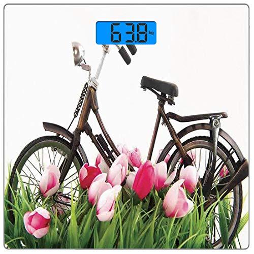Escala digital de peso corporal de precisión Square Vendimia Báscula de baño de vidrio templado ultra delgado Mediciones de peso precisas,Bicicleta vintage de pie Tulipanes de colores Diversión al air