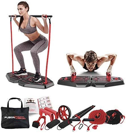 Fusion Motion Portable Gym with 8 Accessories Including Heavy Resistance Bands Tricep Bar Ab product image
