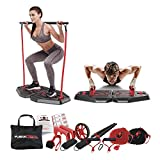 Fusion Motion Portable Gym with 8 Accessories Including Heavy Resistance Bands, Tricep Bar, Ab...
