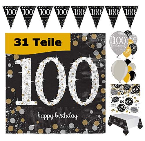 Feestelijke feesten verjaardagsdecoratie 100. Verjaardag 31 delen Decoratieset Luchtballon wimpel slinger confetti servet tafelkleed goud zwart zilver metallic party-set