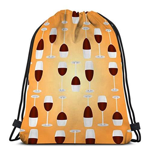 Mochila de Cuerdas Bolsa de Cuerda vasos de vino tinto fondo naranja 36X43CM
